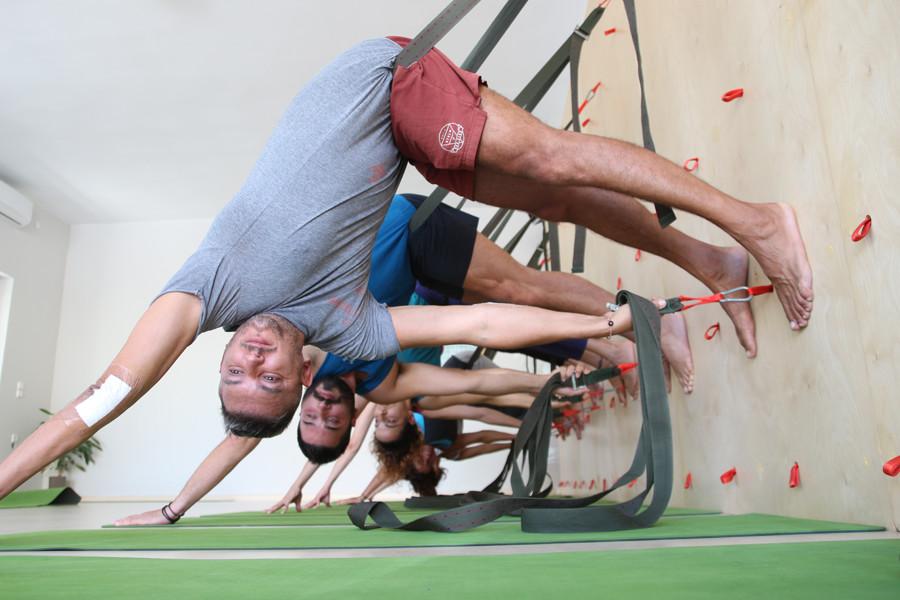 Iyengar wall yoga at Yoga class Chania in Crete, Greece