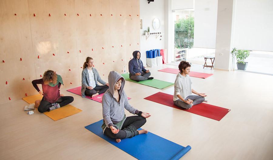 Meditation at Yoga class Chania in Crete, Greece