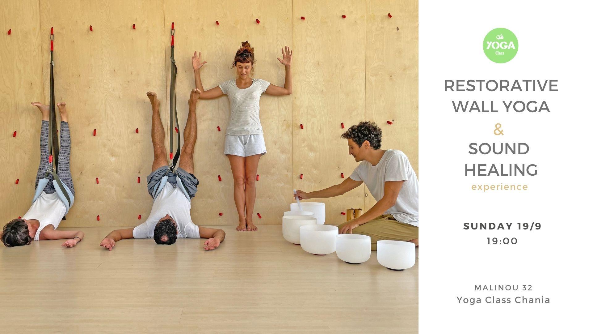 Restorative wall yoga & sound healing experience at Yoga Class Chania – 9 Sept 2021