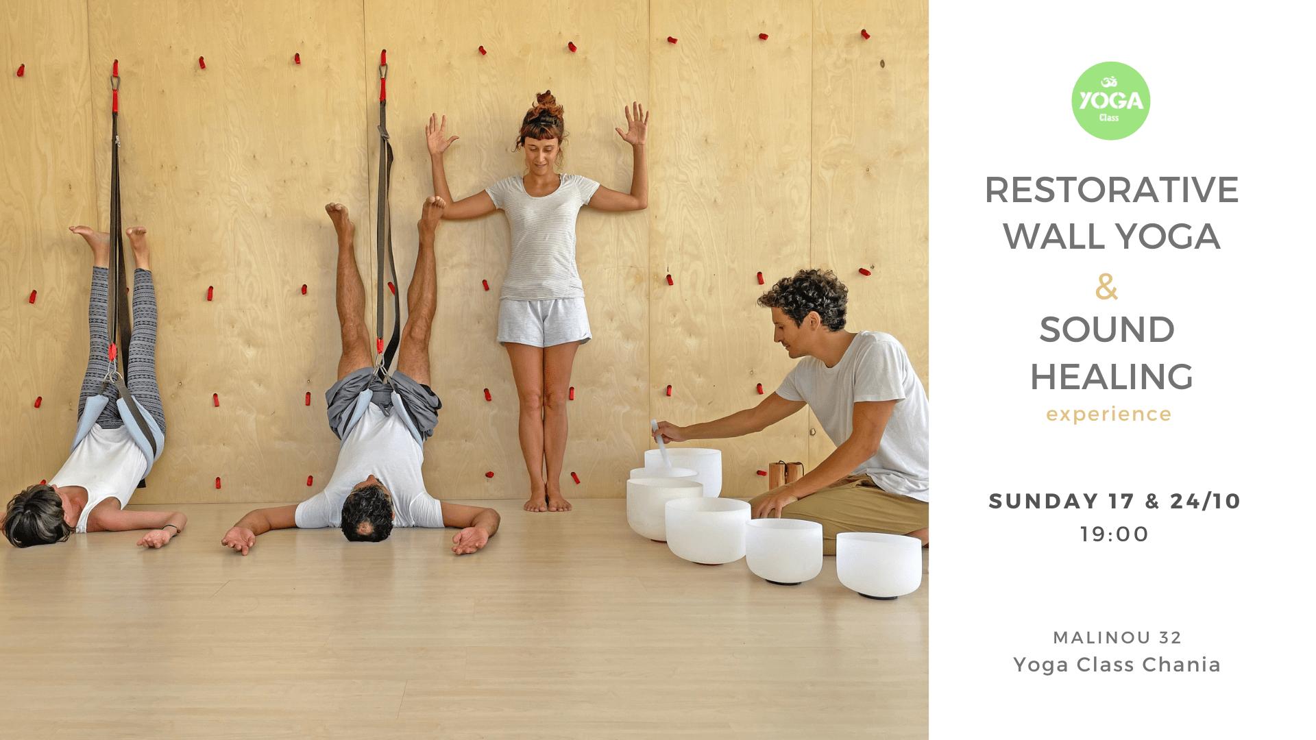 Restorative wall yoga & sound healing experience at Yoga Class Chania – 17-24 October