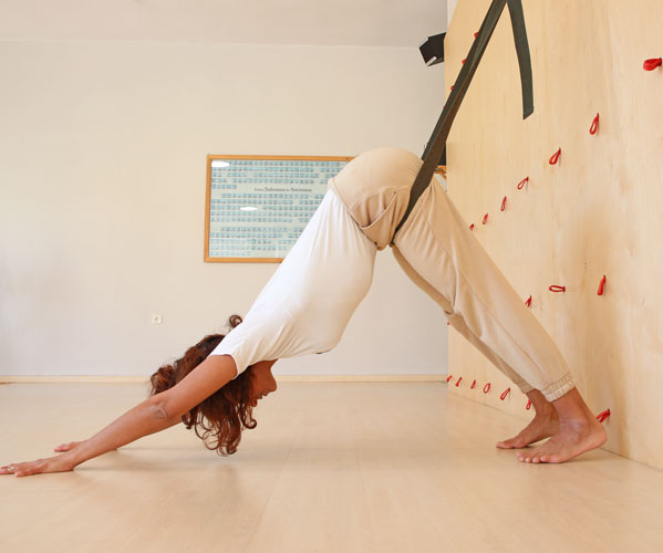 Iyengar Yoga wall at the Yoga Class Chania